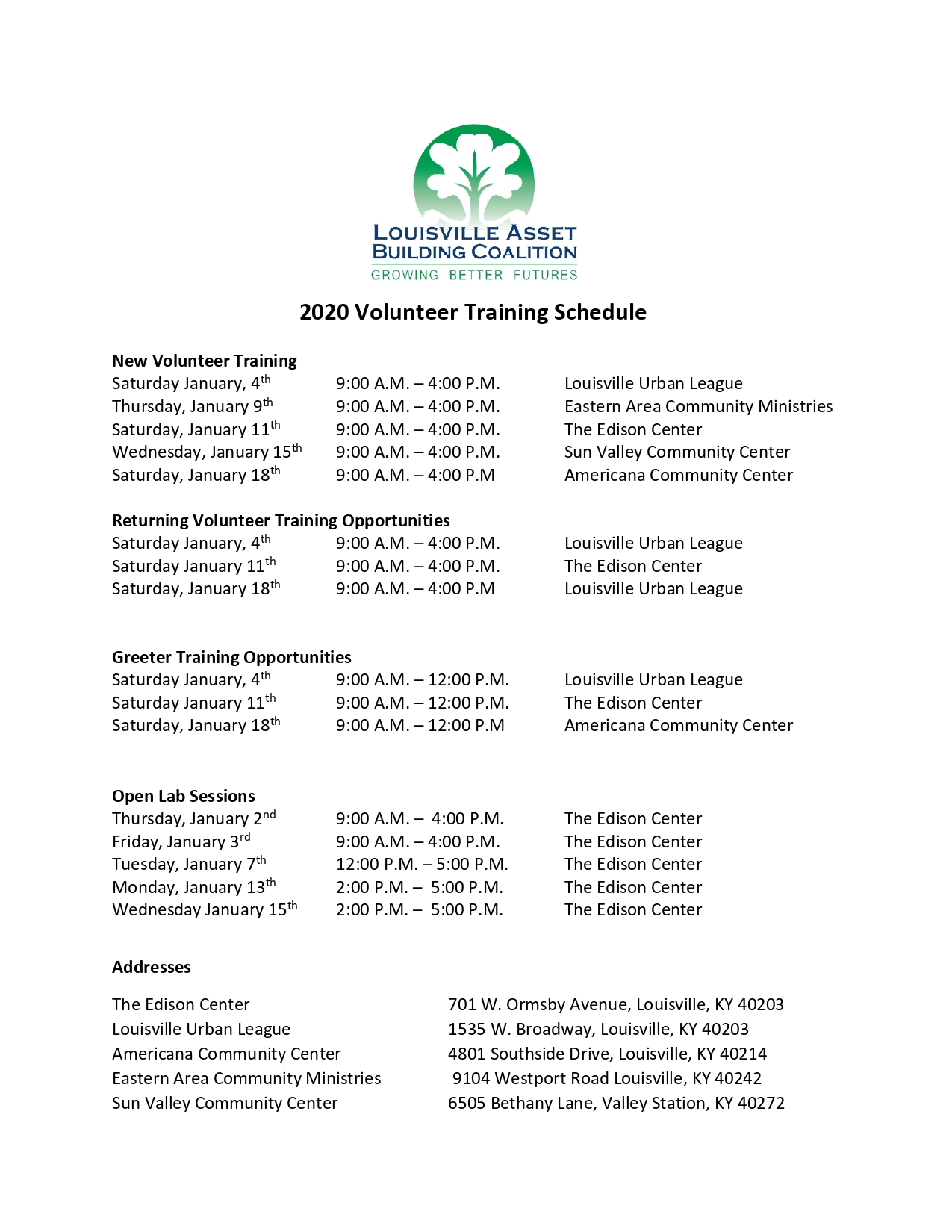 2020 Volunteer Training Schedule page 0001